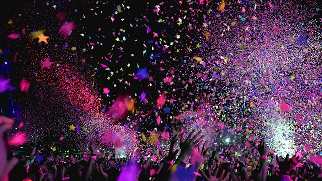 celebration people partying confetti outdoor concert