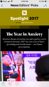 Apple News 2017 The Year in Anxiety 2018 The Year of Courage